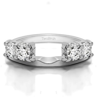 Sterling Silver Traditional Style Ring Wrap Enhancer With Cubic Zirconia (0.5 Cts.)