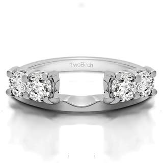 sterling silver traditional style ring wrap enhancer with cubic zirconia 05 cts - Wedding Ring Enhancers