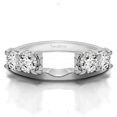 Sterling Silver Traditional Style Ring Wrap Enhancer With Cubic Zirconia (1 Cts.)