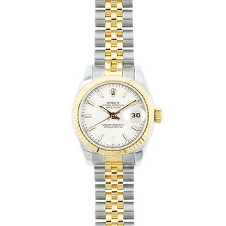 Pre-owned Rolex Mid 2000's Model 179174 Women's Datejust 18K Yellow Gold and Stainless Steel White Dial Watch