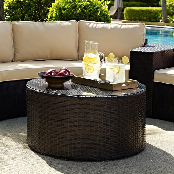 Catalina Outdoor Brown Wicker Glass Top Round Coffee Table