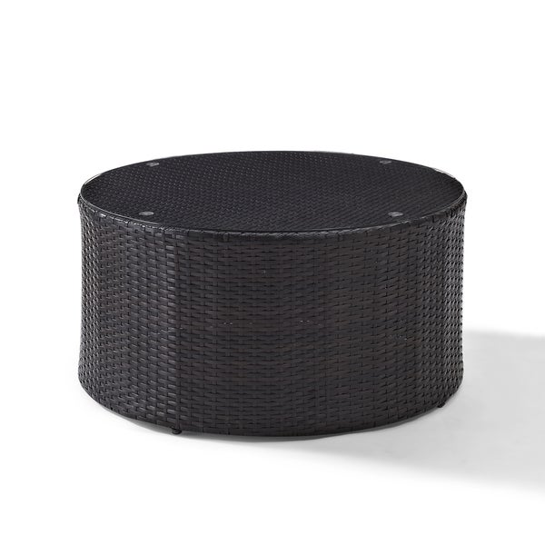 Round Wicker Coffee Table Glass Top: Shop Catalina Outdoor Brown Wicker Glass Top Round Coffee