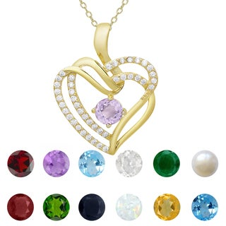 Dolce Giavonna Gold over Sterling Silver Gemstone and Cubic Zirconia Heart Birthstone Necklace