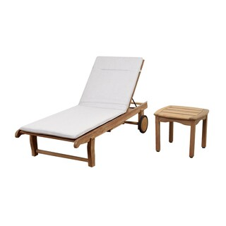 Amazonia Teak Hartford 2 Piece Patio Lounger Set with Trey and Cushion
