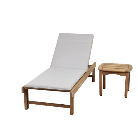 Amazonia Teak San Francisco 2 Piece Patio Lounger Set with Cushion