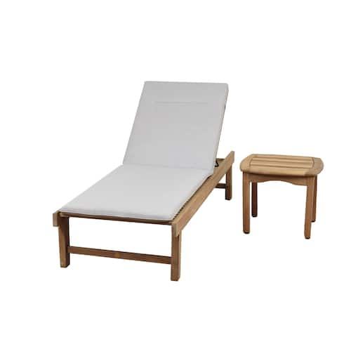 Amazonia Teak San Francisco 2 Piece Patio Lounger Set with Cushion - N/A