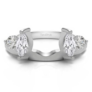 10k White Gold Delicate Ring Wrap Enhancer With Cubic Zirconia (0.15 Cts.)