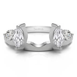 10k white gold delicate ring wrap enhancer with cubic zirconia 015 cts - Wedding Ring Wraps