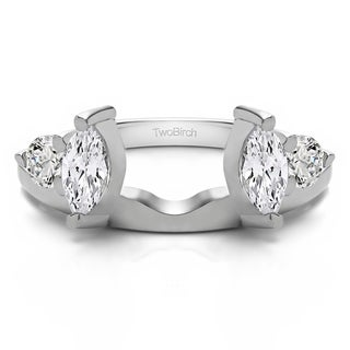 10k White Gold Delicate Ring Wrap Enhancer With Cubic Zirconia (1 Cts.)