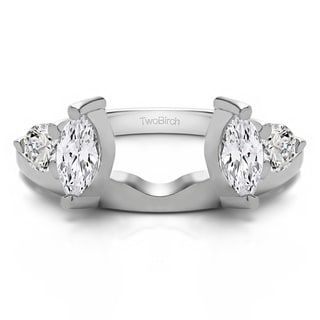 10k White Gold Delicate Ring Wrap Enhancer With Diamonds (G-H,SI2-I1) (0.15 Cts., G-H, SI2-I1)