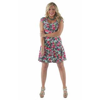 24/7 Comfort Apparel Women's aqua floral A-Line Dress
