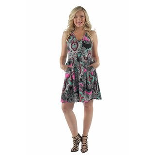 24/7 Comfort Apparel women's Retro Paisley Multi-Color Dress