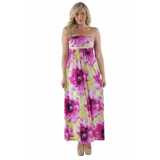 24/7 Comfort Apparel Women's Abstract Floral Tube Maxi Dress - Pink
