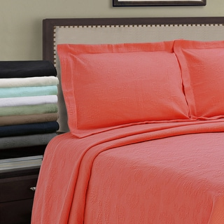 Superior Jacquard Matelassé Paisley Cotton Queen Size Bedspread Set in Aqua (As Is Item)