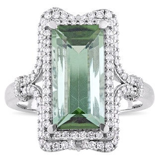 Miadora Signature Collection 14k White Gold Baguette-Cut Tourmaline and 1/2ct TDW Diamond Double Halo Ring