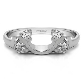 10k White Gold Bypass Style Solitaire Engagement Ring Wrap With Cubic Zirconia (0.12 Cts.)