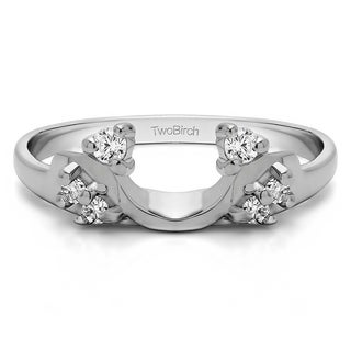 14k White Gold Bypass Style Solitaire Engagement Ring Wrap With Cubic Zirconia (0.12 Cts.)