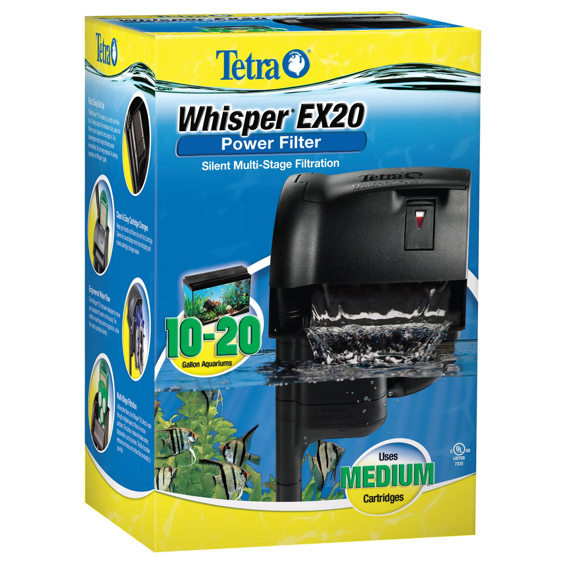 Tetrapond 20 Gallon Whisper EX Filter For Aquariums (Filt...