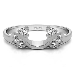 Sterling Silver Bypass Style Solitaire Engagement Ring Wrap With Cubic Zirconia (0.15 Cts.)