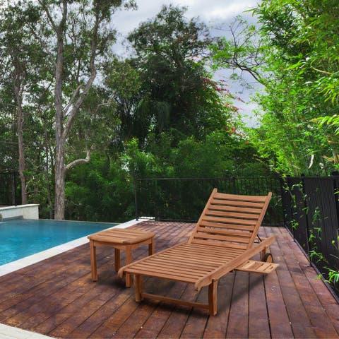Amazonia Teak Hartford Natural Wood 2-piece Patio Lounger Set - 2 Piece