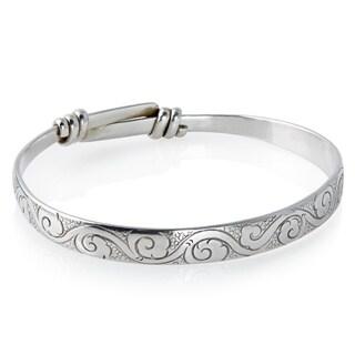 Handmade Sterling Silver Bracelet (Carved with Adjustable Band) (Nepal)