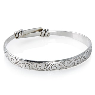 Handmade Sterling Silver Bracelet (Carved with Adjustable Band) (Nepal)