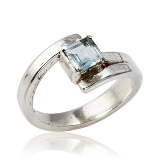 Handmade Silver Ring with Square Blue Topaz (Nepal)