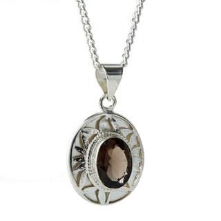 Handmade Silver Plated Smoky Topaz Gemstone Oval Necklace (Nepal)