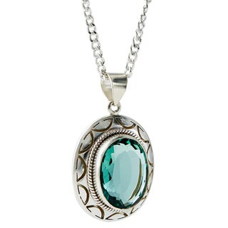 Handmade Silver Plated Green Gemstone Oval Necklace (Nepal)