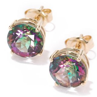 10k Yellow Gold Mystic Topaz Round Stud Earrings