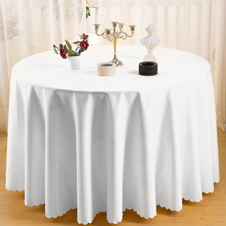 90 Inch Round Polyester White Tablecloths (Pack Of 2)