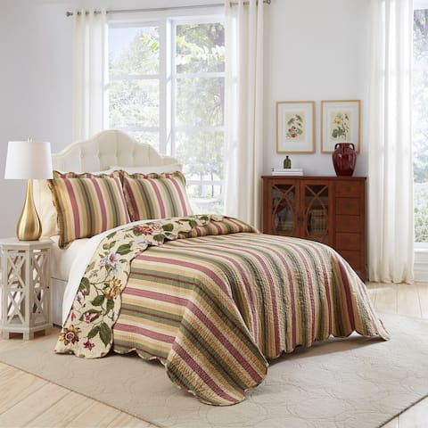 Waverly Laurel Springs Reversible Cotton 3 Piece Bedspread Collection
