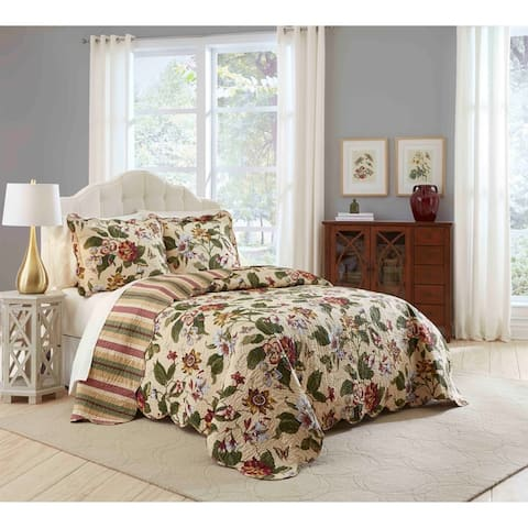 Waverly Laurel Springs Reversible Cotton 3 Piece Bedspread Collection