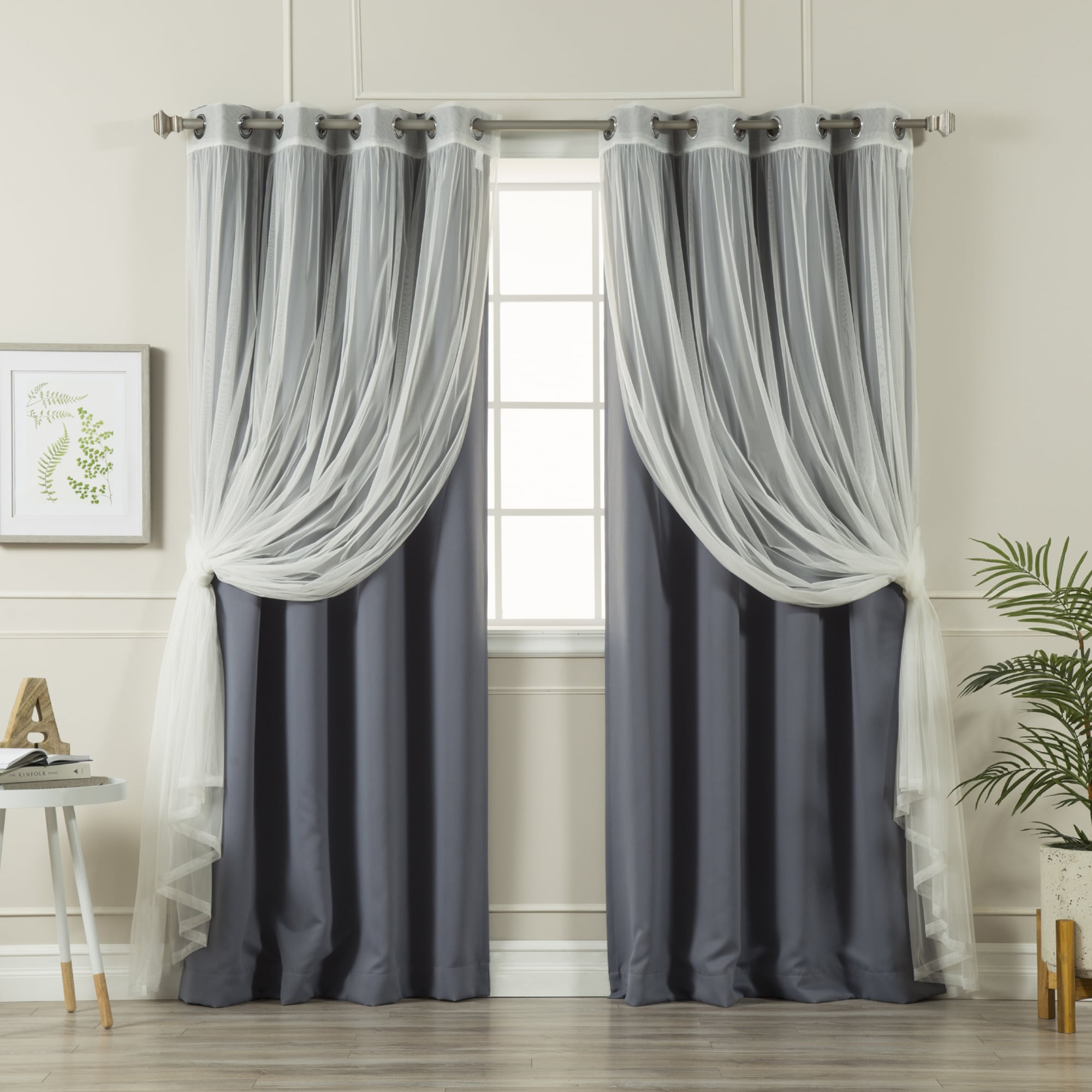 Aurora Home MIX & Match Curtains Blackout and Tulle Lace ...