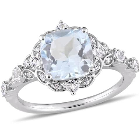 Miadora 14k White Gold Aquamarine White Sapphire and Diamond Engagement Ring