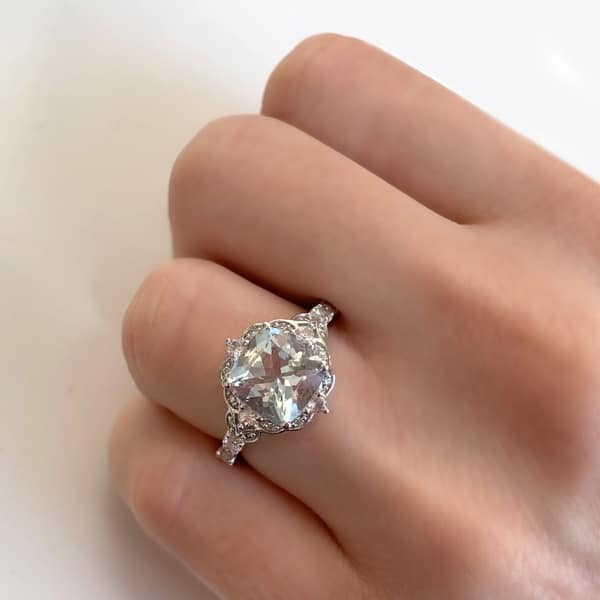 Shop Vintage Aquamarine White Sapphire And Diamond Ring In 14k White Gold By Miadora On Sale Overstock 15032786
