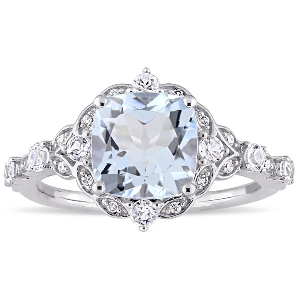 Miadora Vintage 14k White Gold Aquamarine White Sapphire and Diamond Accent Engagement Ring