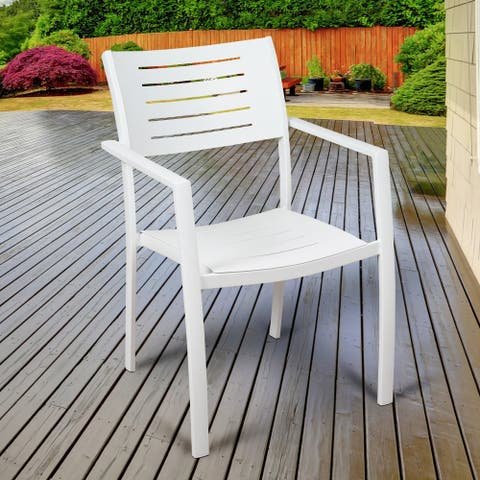 Mandalay White Aluminum Stacking Patio Chairs (Set of 4) by Havenside Home
