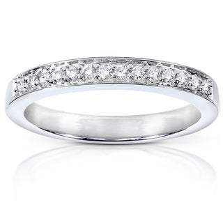 Annello by Kobelli 14k White Gold 1/8ct TDW Diamond Pave-set Womens Wedding Band (G-H, I1-I2)