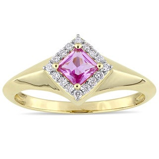 Miadora Signature Collection 14k Yellow Gold Square-cut Pink Sapphire and 1/10ct TDW Diamond Halo Engagement Ring