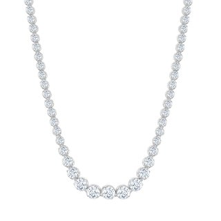 La Preciosa Sterling Silver Prong Set Graduating Bridal ZIrconia Tennis Necklace