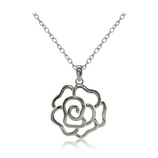 Mondevio Sterling Silver High Polished Open Rose Necklace