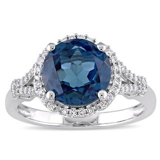 Miadora Signature Collection 14k White Gold London-Blue Topaz and 1/5ct TDW Diamond Floral Halo Ring