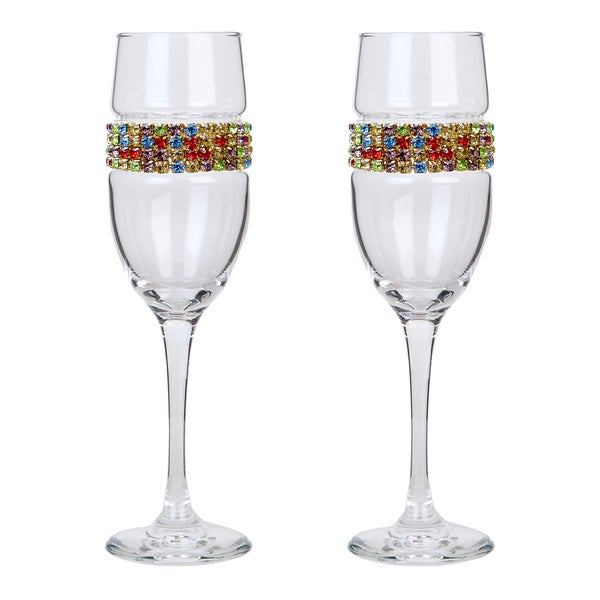 Stemware Designs Shimmering Wines Glass Confetti Champagne Flutes (Set of 2)