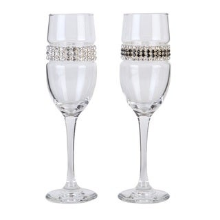 Shimmering Wines by Stemware Designs Glass Bride & Groom Champagne Flutes (Set of 2)