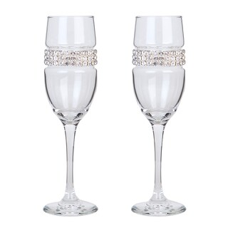 Stemware Designs Shimmering Wines Silver Glass Champagne Flutes (Set of 2)