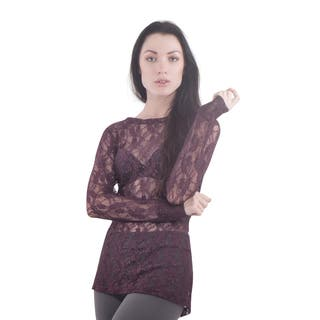 Bluberry Women's Maroon Lace Top|https://ak1.ostkcdn.com/images/products/15033307/P21528645.jpg?impolicy=medium