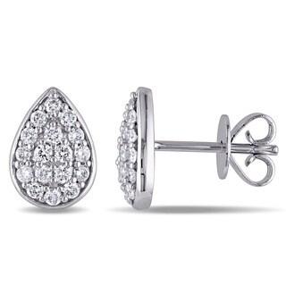 Miadora 14k White Gold 1/3ct TDW Diamond Stud Earrings (G-H, SI1-SI2)