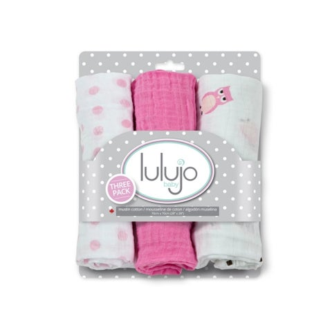 Lulujo Owl Always Love You Pink Mini Muslin Cloth (3 Pack)