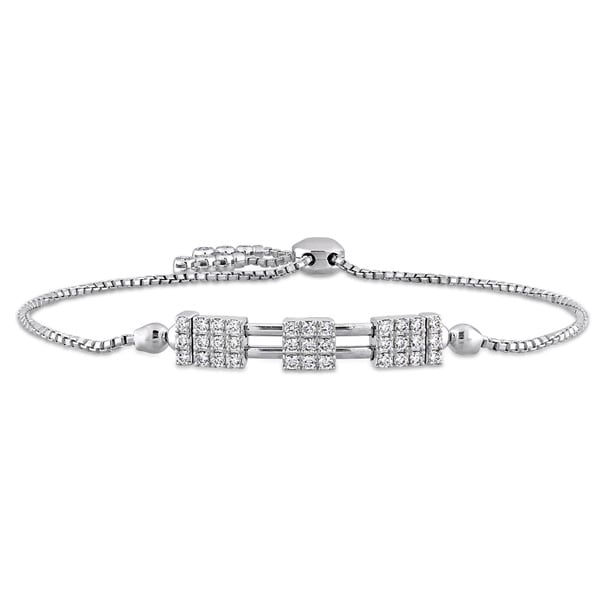 Miadora Signature Collection 14k White Gold 3/5ct TDW Diamond Bolo Bracelet (G-H, SI1-SI2)